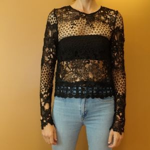 Millau Black Lace Long Sleeve Back-Closure Top
